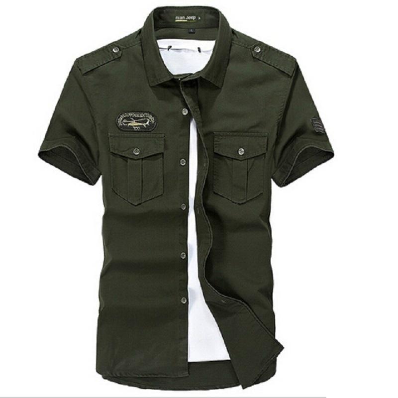 Army Green Khaki 100% Cotton summer shirt men casual clothes 2015 short Sleeve Men's Cargo military Style Shirts Plus Size 4XL(China (Mainland))