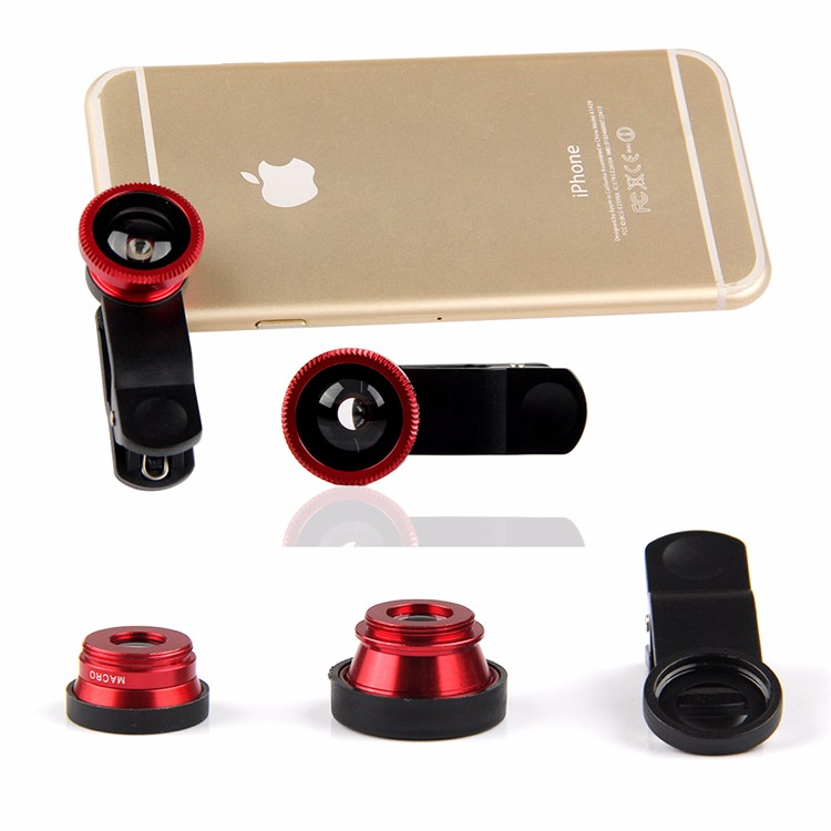 New Fish eye 3 in 1 lenses for universal mobile phone camera wide macro fisheye lens for iphone 6s samsung s5 s6 xiaomi MI4