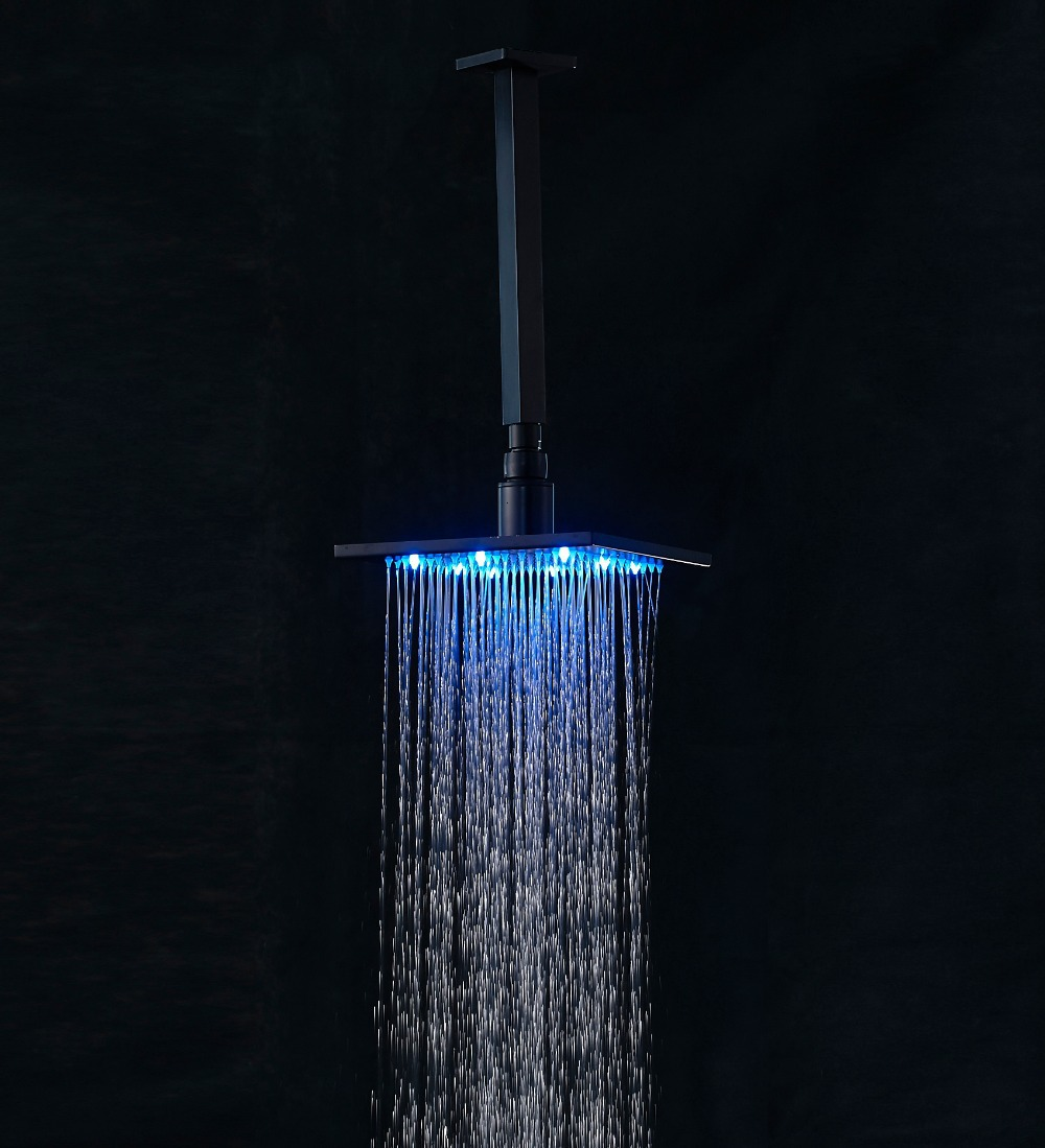 Traditional LED 8-inch Square Rain Shower Head with Ceiling Mount Shower Arm Oil Rubbed Bronze(China (Mainland))