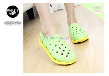 2015 new candy-colored heavy-bottomed hole shoes lovers big yards sandals casual sandals hollow men Baotou W121