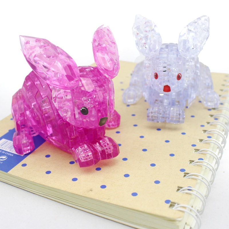 New Arrival 3D Crystal Puzzles Rabbit Football Educational Toys Christmas Kid's Present New Year Gift(China (Mainland))