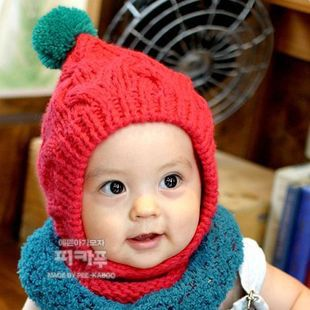 Color block candy cap baby ear cold cap autumn and winter hat child knitted hat knitted hat warm hat(China (Mainland))