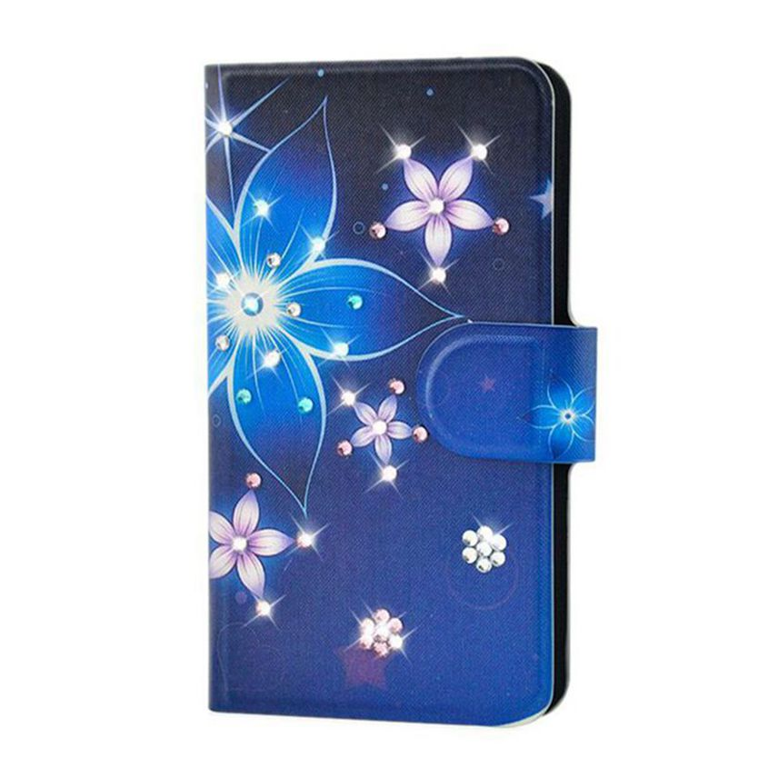Case Handmade Newest Colorful Flower Bling Diamond Leather PU Flip Case Cover For blackberry Q5(China (Mainland))