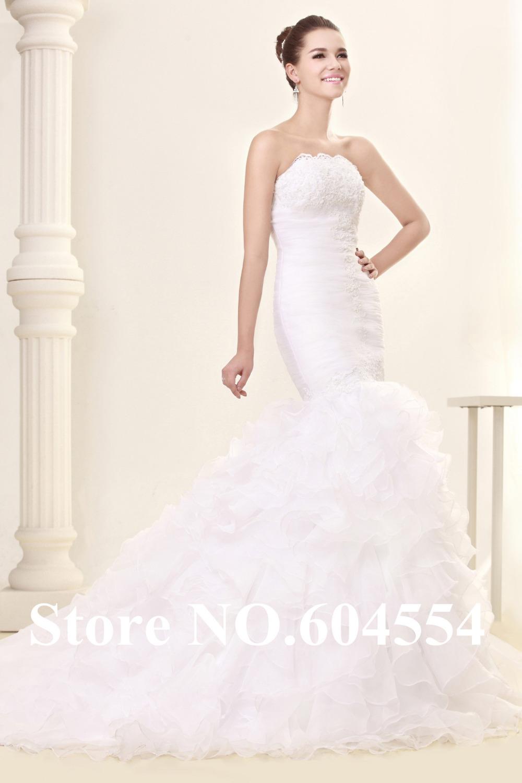 Wedding Dresses Mermaid Ruffles : Ruffles a line lace mermaid wedding dress bridal gown in