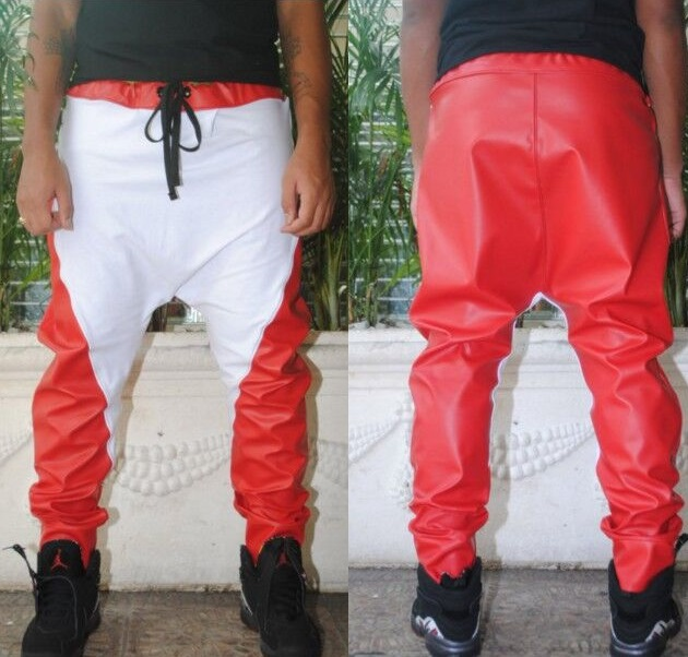 30-42 ! HOT ! Fashion men leather pant kanye swag red and white colorant match trousers Free Shipping(China (Mainland))