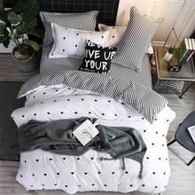 BEST.WENSD Blue pink gray cartoon-Simple size 4pcs Bedding sets Cotton duvet cover sets Double-Single-kids bedspread bedclothes(China)