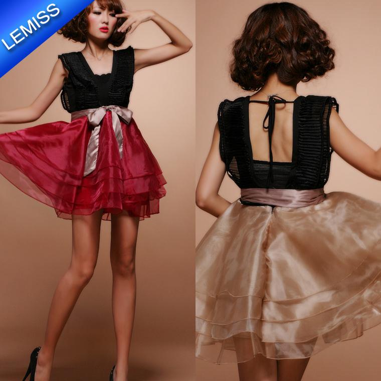 Spring Summer Womens Cute Style Lace Sleeveless V-Neck Knee Mini Ball Gown Dress - Shenzhen Lemiss Technology Co.,Ltd. store