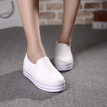 2016 Platform Canvas Shoes Woman Spring Slip On Flats Casual Ladies Loafers Solid Creepers Floral Inside Women Shoes