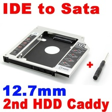 2015 New 2nd HDD 12.7mm Caddy IDE to SATA Hard Disk Drive SSD Aluminum Case Enclosure CD DVD-ROM Optical Bay Adapter for Laptop(China (Mainland))