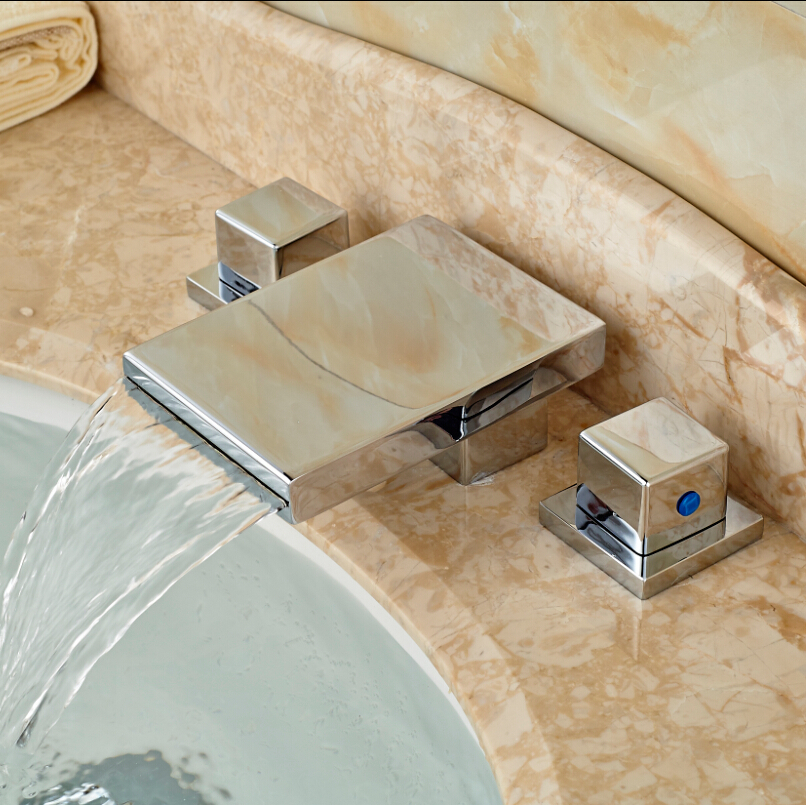 Brand New Widespread 3pcs Bathroom Bath Sink Basin Waterfall Faucet Chrome Finish Dual Handles(China (Mainland))