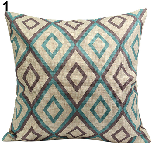 vintage geometric flower cotton linen throw pillow case