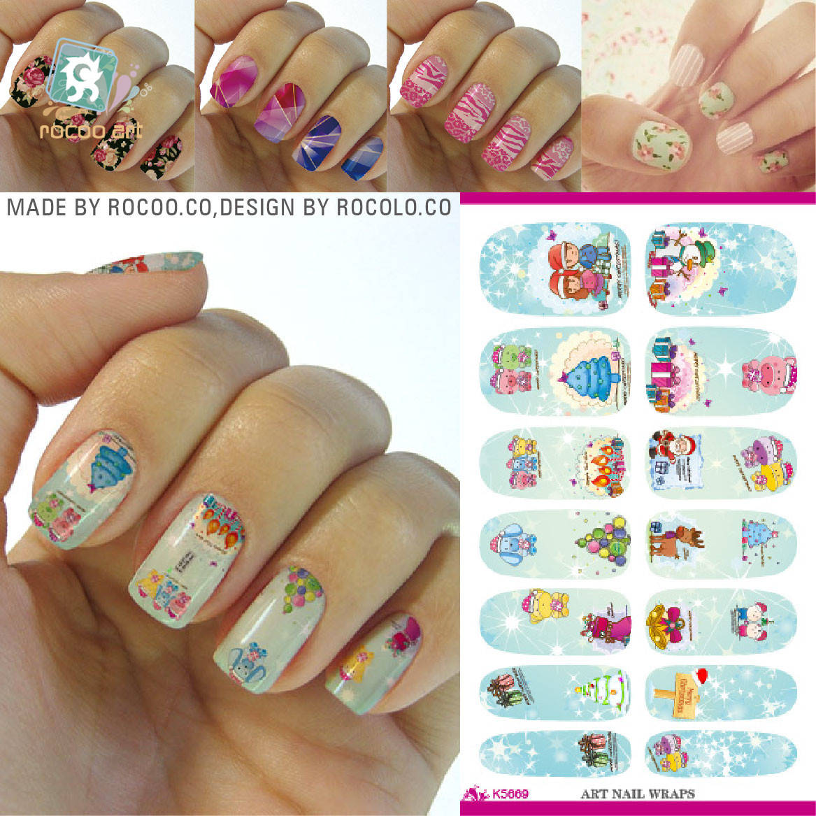 DIY Water Transfer Nail Art Sticker Merry Christmas Cute Light Blue Cartoon Kids Nail Wraps Sticker Manicure Decals(China (Mainland))