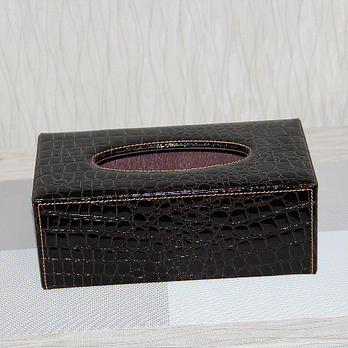 Fashion mini high quality leather quality crocodile skin long tissue box tube red black and white(China (Mainland))