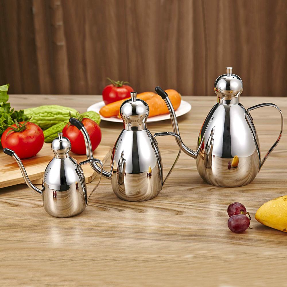 Thick 304 stainless steel round l Long Neck oil can seasoning bottle spice jar set leak oiler soy sauce vinegar bottle 3size(China (Mainland))