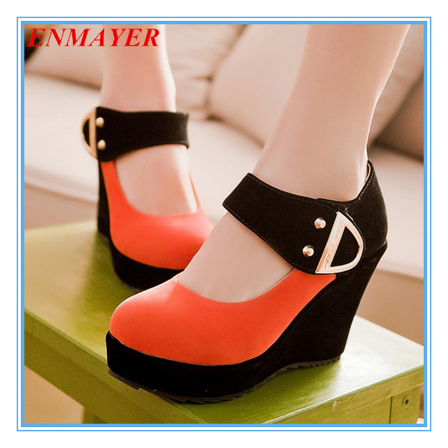 ENMAYER plus size 34-43 patchwork women pumps 4 colors rivets Mary Janes platform round toe high heel shoes girls