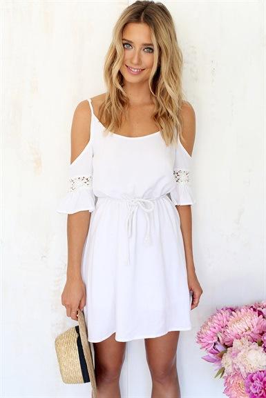 2015 European American white lace suture shoulder chiffon dress short sleeves.Condole belt dress.SIZE.S,M,L,XL - Leisure fashion Online Store store
