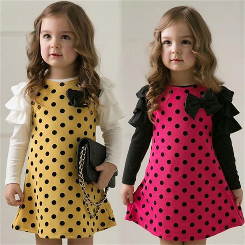 2015 New Girl Dress Spring Autumn bow princess dress Children clothes Dot long sleeve 2 colors dresses 1pcs retail free shipping(China (Mainland))