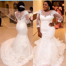 Buy Long Sleeve Lace Mermaid Wedding Dresses Tulle African Wedding Gowns Weding Bridal Bride Dresses Weddingdress robe de mariage for $179.10 in AliExpress store