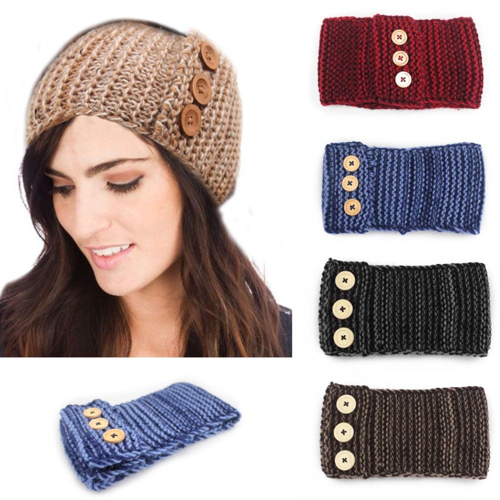 1pc BOHO style Women Winter Caps Buttons with Wool hairband Autumn Headwear Hair accessories Kntted Wool Headband For girls(China (Mainland))