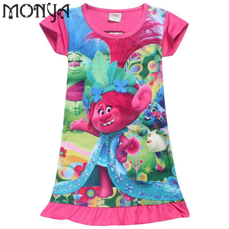 Girls Sleepwear Trolls girls in long nightdress digital printing children dress Kids Nightgown Princesses Sleepwear For Girls(China (Mainland))