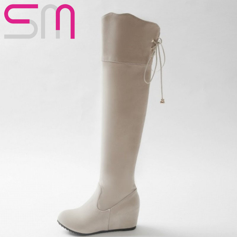 2015 Brand Lace up Over the Knee Boots Hidden Wedges Solid School Style Slim Long Boots Shoes Woman Add fur Autumn Winter Boots