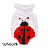 2016 New Arrival Newborn Baby Girl's 100% Cotton White Ladybird Summer Sleeveless Bodysuit & Infant Creeper