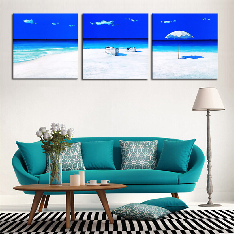 Unframed 3 Panels Cheap Modern Sandbeach Seascape Wall Painting Home Decorative Art Picture Paint Canvas Prints - Whisper of painting store