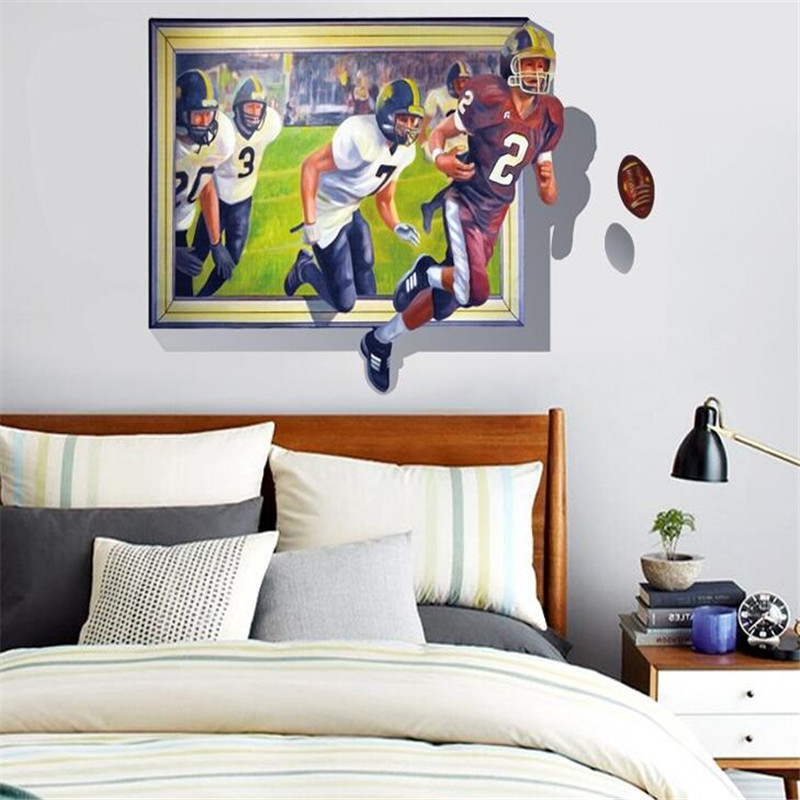 3D UV personality Unique Bedroom Decoration Rugby Ball match Wall Sticker Vinyl Removable Home Decor AY8010(China (Mainland))