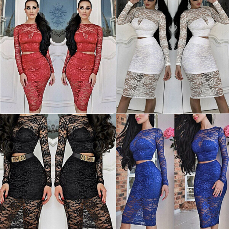 2015 new fashion see-through lace 2 piece set women crop top skirt conjunto cropped e saia - Online Store 832773 store