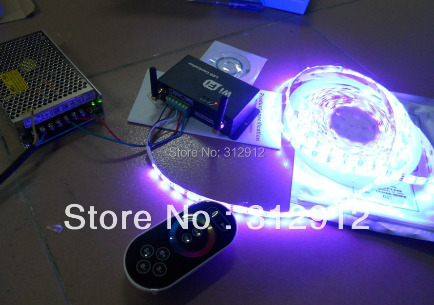5m 12V 300leds IP65 5050 RGB strip+12V/100W power supply+ led wifi controller,support Android and IOS system<br><br>Aliexpress