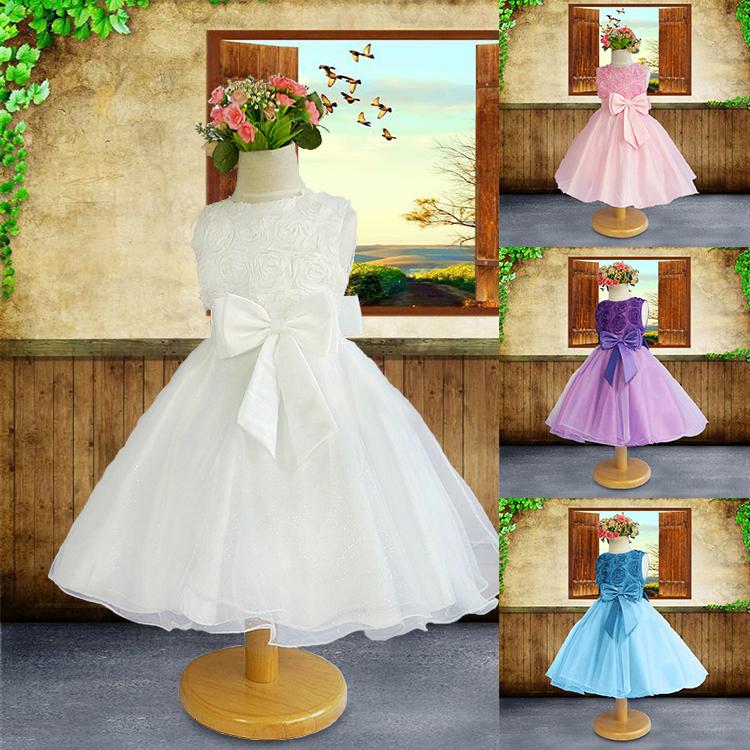 2015 new Girls Dress White Princess dress children's wear Party veil Big bow girl wedding flower Baby girls dress(China (Mainland))
