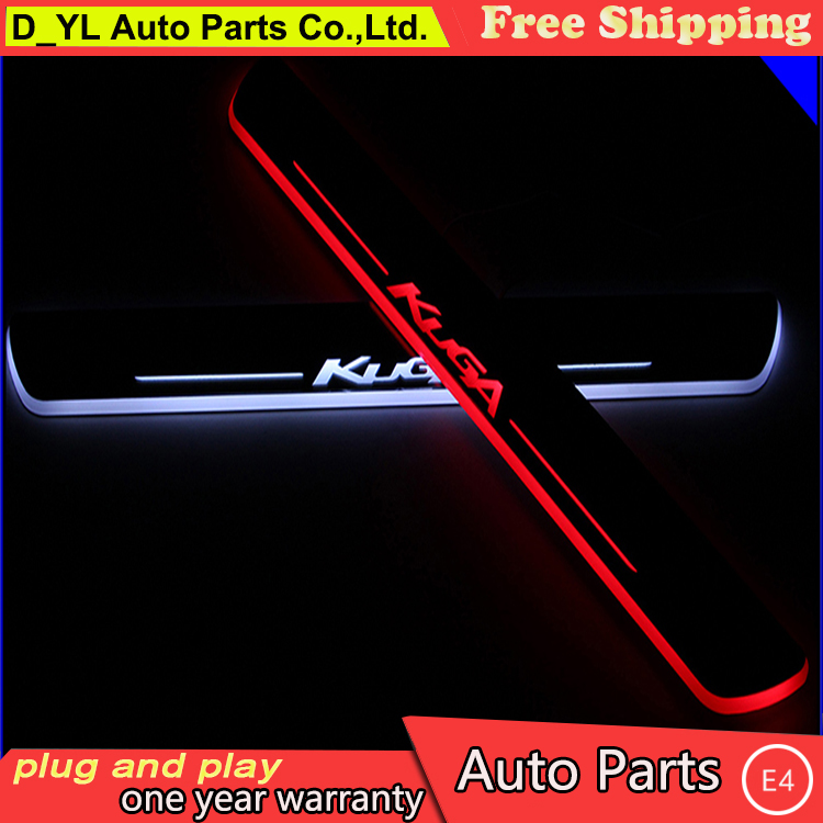 Car Styling Welcome pedal LED door sill for Ford KUGA 2013 2014 2015 Led moving door scuff plate light outside welcome pedal(China (Mainland))