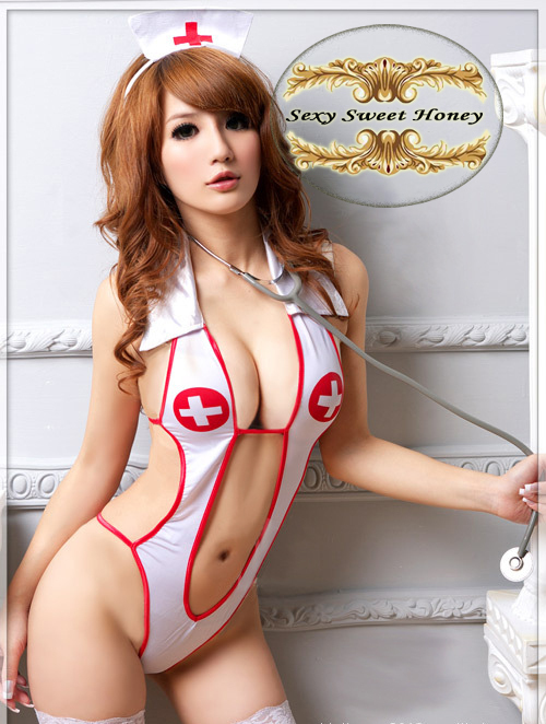 Hot selling sexy underwear, lady's sexy lingerie ,Open Front Backless Costume Nurse Suit + Hat Set Free shipping QF103(China (Mainland))