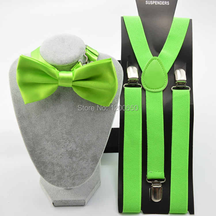 Unisex Adjustable Clip-on Braces Elastic Y-back Suspender and bow ties set for Женщины ...