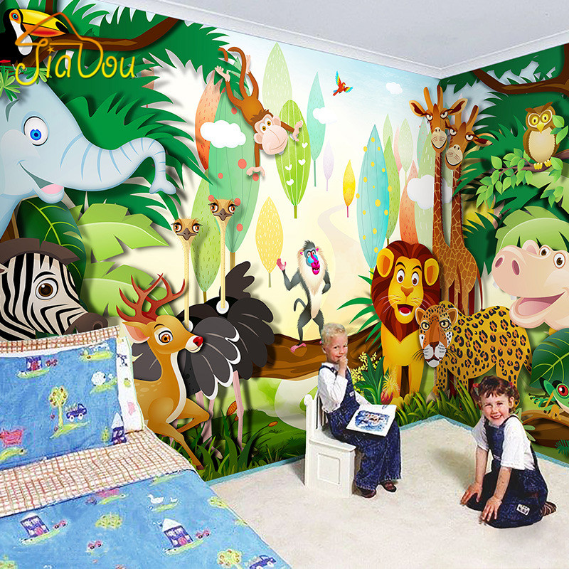 Custom children 39 s room mural wallpaper 3d cartoon forest for Childrens mural wallpaper