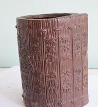 China folk Red bronze Carve The Three-Character Classic tree skin pen container(China (Mainland))