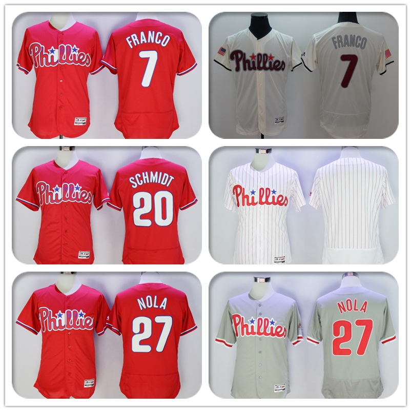 Mens Flexbase #7 Maikel Franco #20 Mike Schmidt #27 Aaron Nola Jersey Color Red Blue Gray White Throwback Blank Fashion Jerseys(China (Mainland))
