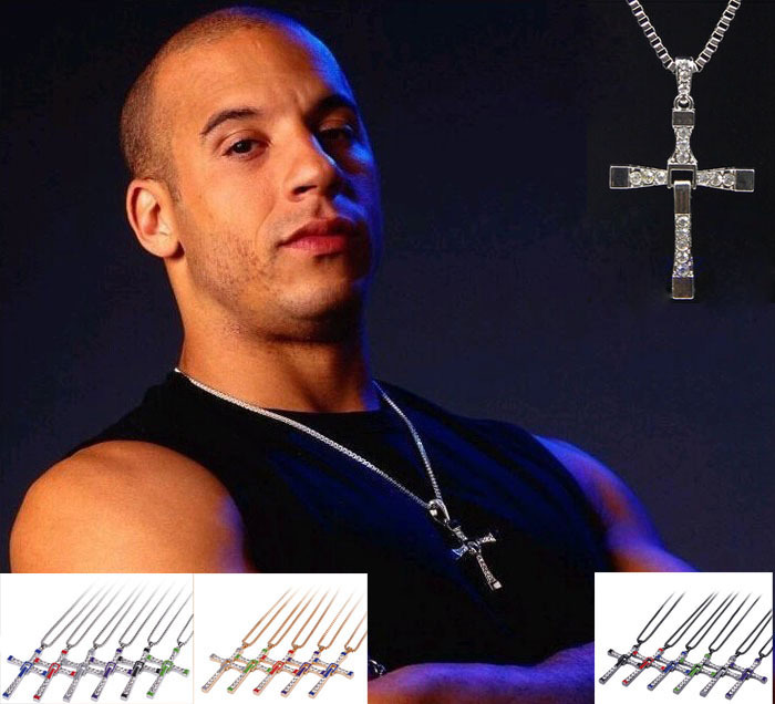 Toledo Fast & Furious 7 Movie Men Chain Necklace Gold Silver Stainless Steel Cross Pendant Enamel Crystal Suspension Necklace(China (Mainland))