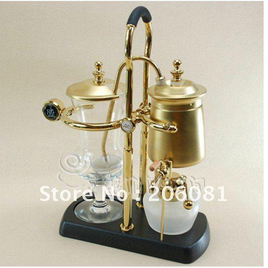 4C Belgium Royal Balancing Coffee Maker ,ROYAL BELGIUM COFFEE MAKER ,Golden Vacuum Syphon Coffee Maker ,Perfect quality(China (Mainland))