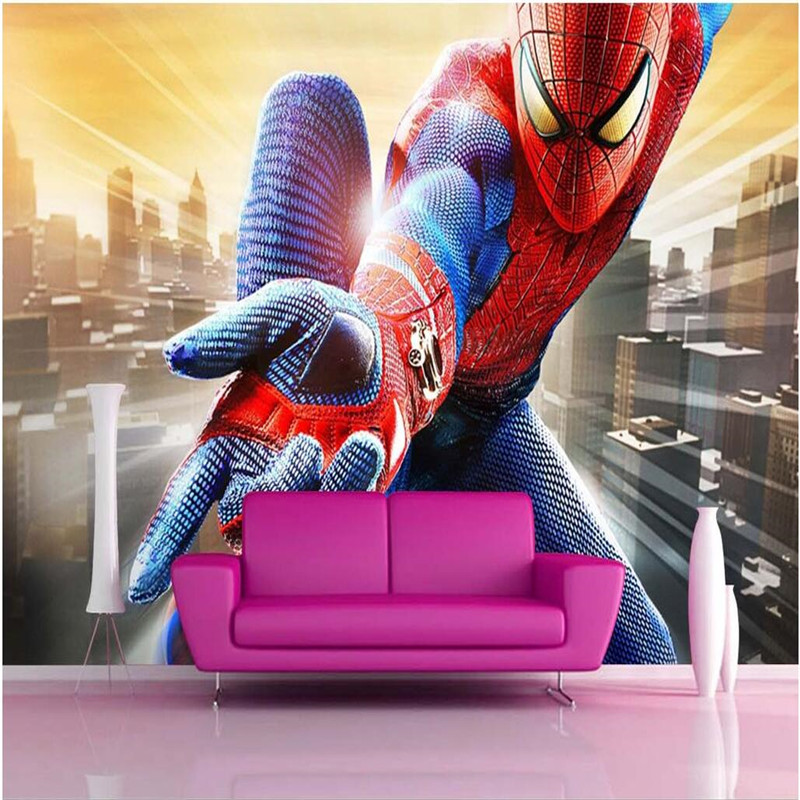 Photo background wallpaper photography US film Spider-Man trapeze bathroom Hotel wall art mural murals-3d wall papers home decor(China (Mainland))