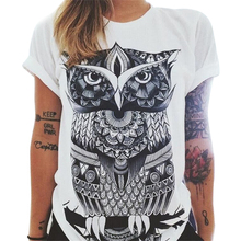 Buy Women Owl/Letters /eye Print T-shirt Loose Solid Color Round Neck Short-sleeved T shirt for $3.25 in AliExpress store
