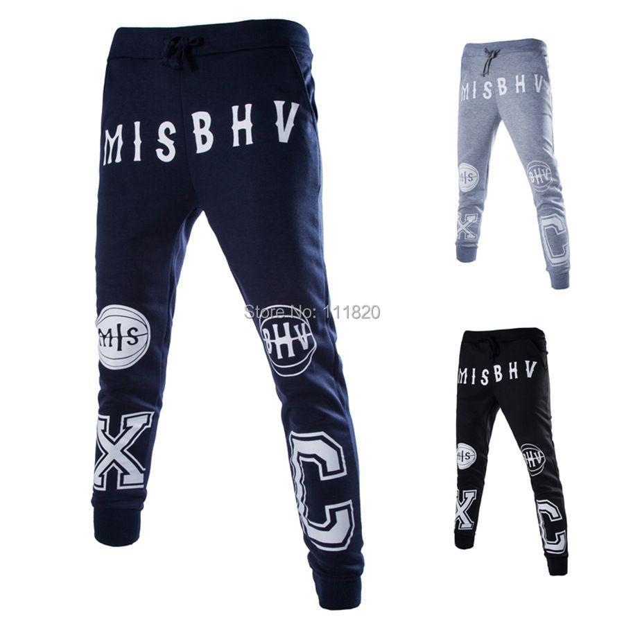 Fashion Biker Joggers Jogging Slim Fit Skinny Sweatpants Harem Pants Man Hip Hop Swag Clothes letter printed Men Gray Black - Lady-Killer store