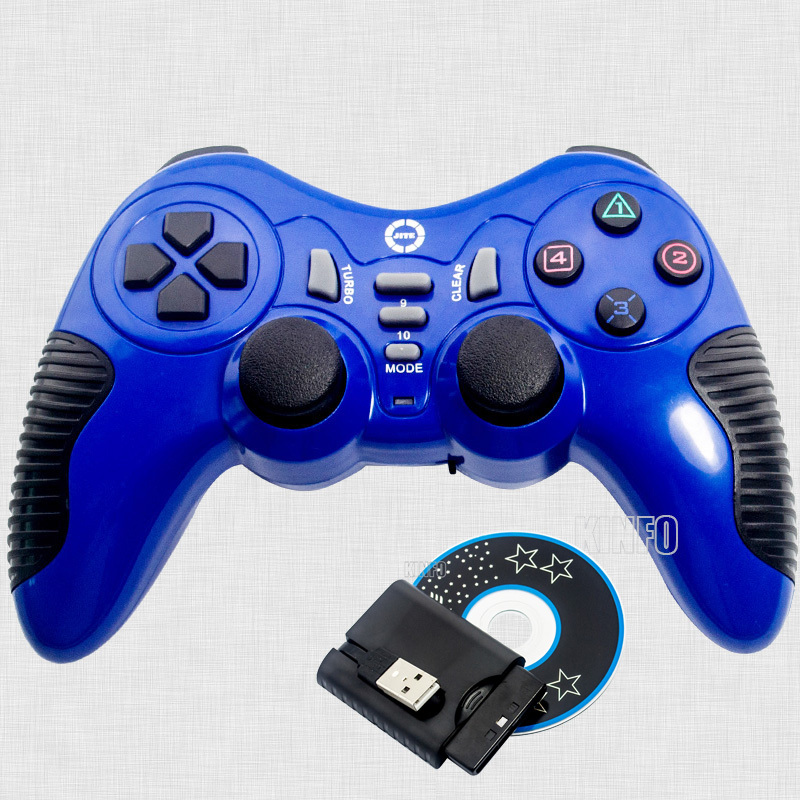 3 in 1 Double Vibration Wireless Gamepad Controller Joystick Joypad For Pc PS2 PS3 Playstation Game Pad Control Blue BCG11B-P24(China (Mainland))