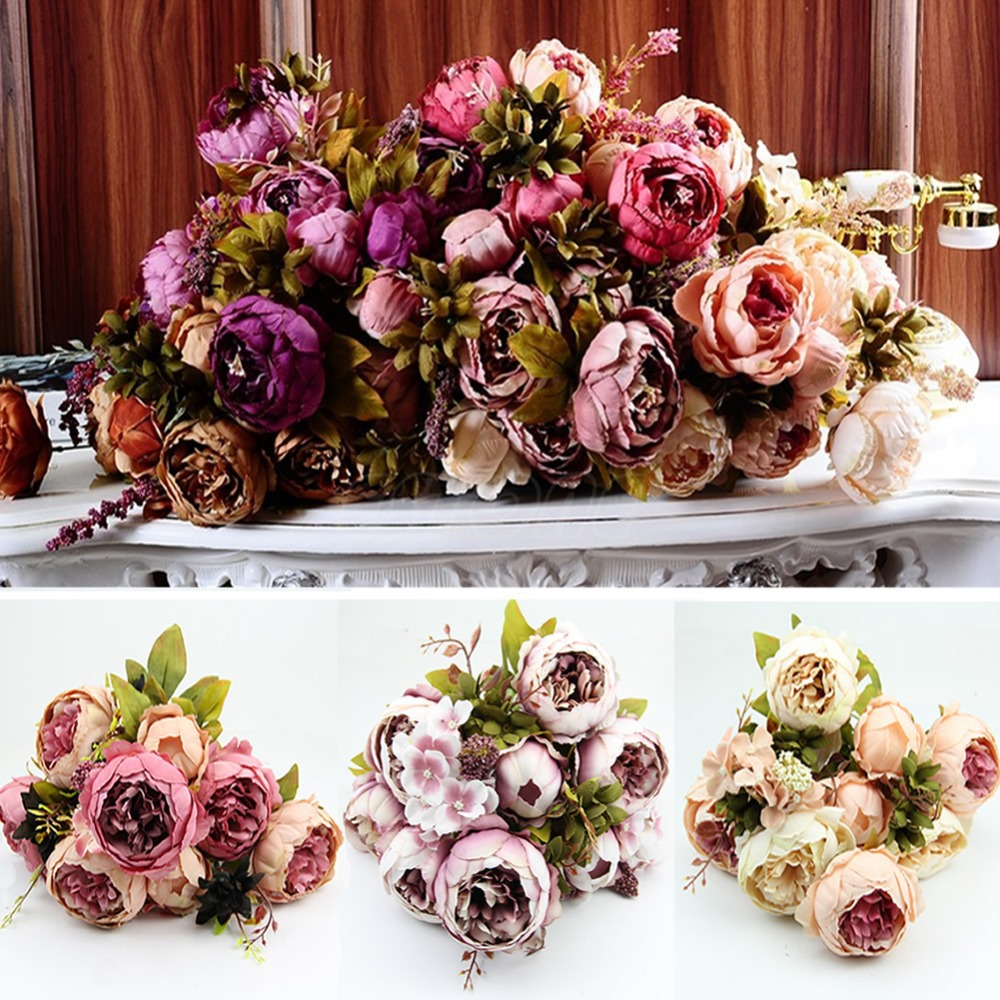 C18 2015 Hot 10 Head Bouquet Vintage Artificial Peony Silk Flower Room Wedding Floral Decor free shipping(China (Mainland))