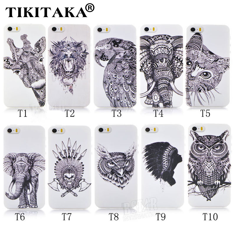 Style 3D Cases Cute Cartoon Animal world logo giraffe Elephant OWL Phone Case Cover Iphone 5 5S SE Hard PC Back - Corcossi Science & Technology CO., LTD store