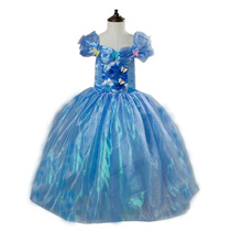 Newest movies cinderella dresses princess dress for girls disfraz cinderella costumes child 2016 fancy summer dresses
