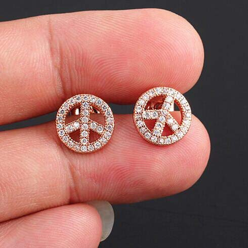 European and American classic style peace sign 3A Micro Pave Zircon silver CZ earrings 18k(China (Mainland))