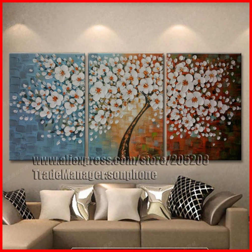 Framed 3 Panel Large Palette Knife Painting Money Tree Canvas Art Feng Shui