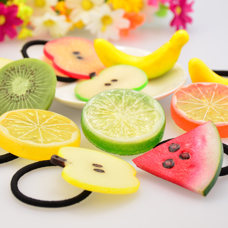 Sale Free Shipping 1 Piece New Red Cute Barrettes Fruit Watermelon Hair Band Rhing Women Hair Clip Ponytail Hairpin Accessories(China (Mainland))