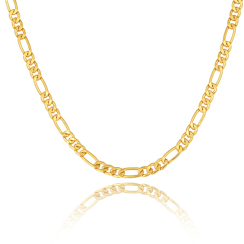 Gold color Men Necklace Jewelry Wholesale Stainless Steel 5 Sizes 5MM Trendy Long Figaro Chain Necklace(China (Mainland))